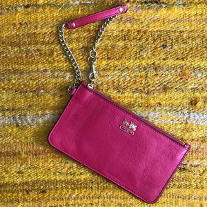 Coach Red Leather & Brass Wristlet/Wallet